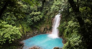 """Celeste Catarata (Sky Blue Waterfall) near volcan Tenorio near Rio Celeste area Parque Nacional Volcan Tenorio and our Tenorio Lodge http://www.tenoriolodge.com Costa Rica.  03 May 2012.  Celeste Catarata near volcan Tenorio Rio Celeste - Parque Nacional Volcan Tenorio http://en.wikipedia.org/wiki/Tenorio_Volcano_National_Park says """"Tenorio Volcano National Park (Spanish: Parque Nacional Volcán Tenorio) is a National Park in the northern part of Costa Rica, which forms part of the Arenal Tilaran Conservation Area. The jewel of the National Park is the volcano, from which it receives its name. The Tenorio Volcano was made part of the National Park in 1995 and is located about 26 miles northeast from the town of Fortuna in the Guanacaste Province... The awe-inspiring Rio Celeste (Light Blue River) [sky blue river] is turned literally blue due to the emanation of sulfur from the volcano and precipitation of calcium carbonate."""" http://en.wikipedia.org/wiki/Rio_Celeste says """"Celeste River is a river in Tenorio Volcano National Park of Costa Rica.  It is notable for its distinctive turquoise coloration, a phenomenon caused by a chemical reaction between sulfur and calcium carbonate.""""  Photo © 2012 """"Mike"""" Michael L. Baird, mike {at] mikebaird d o t com, flickr.bairdphotos.com, Canon 5D Mark III, with Canon EF 24-105mm f/4 L IS USM Lens w/ circular polarizer, RAW, handheld.  See EXIF for more settings.   To use this photo, see access, attribution, and commenting recommendations at www.flickr.com/people/mikebaird/#credit - Please add comments/notes/tags/names to add to or correct information, identification, etc. Please, no comments or invites with badges, unrelated images, flashing icons, links to your photos, multiple invites, or invites with award levels and/or award/post rules. Critique is always welcomed."""